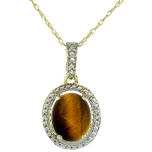 Tiger Eye Oval Pendant - Silver City Jewelry 10K Yellow Gold 0.09 cttw Diamond Natural Tiger Eye Pendant Oval 10x8 mm