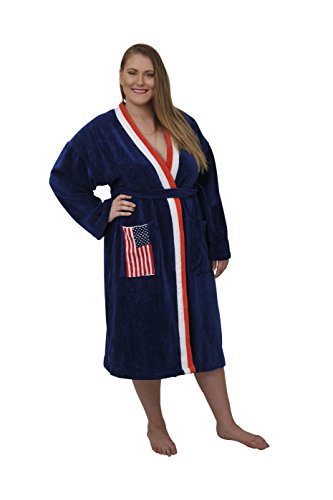 777125ebbe2 Luxurious Women s and Men s Terrry Towelling Cotton Velour Bathrobe with American  Flag pocket feature