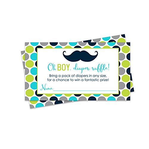 Paper Clever Party Mustache Baby Shower Diaper Raffle Tickets - 25 Pack - Baby Shower Game ()