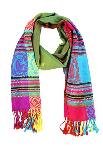 Paskmlna Double Side Rainbow Silky Tropical Colorful Exotic Pashmina Wrap Shawl Scarf (#4olive)