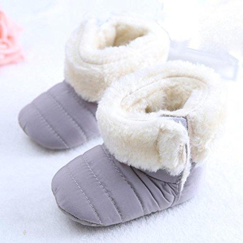 Tefamore zapatos bebes sneaker de primeros pasos de antideslizante de sole suave de moda invierno de calentar de además de terciopelo Gris