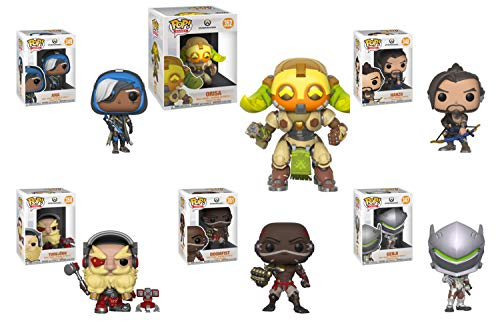 Funko Pop! Bundle of 6: Overwatch - Hanzo, Genji, Ana, Torbjorn, Doomfist, and Super-Sized Orisa