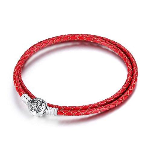 Glamulet Art - 38 cm Double Red Leather Bracelet -- 925 Sterling Silver -- Fits Pandora Charm