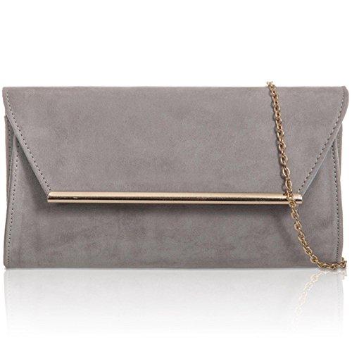 Evening Handbag Envelope Suede London Leather Women Ladies Xardi Grey Faux Baguette Medium Clutch vwBxTqP6
