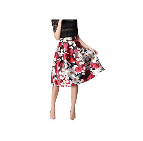 Oudan Femme Jupe Fleurs Trapze Evas Vintage Rtro Imprime Jupe Midi Pliss Taille Haute au Genou Noir