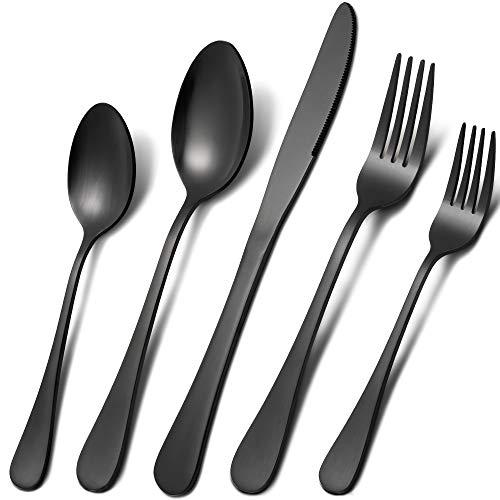Acnusik Black Silverware Set 45 Pieces Stainless Steel Flatware Utensils Cutlery Tableware Steak Knife Fork and Spoon Service for - 45 Piece Matte Set