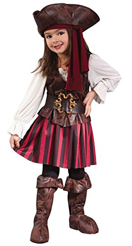 Fun World Baby Girl's Toddler Girl High Seas Buccaneer Costume, Brown/White, Large (Five Girls Halloween Costumes)