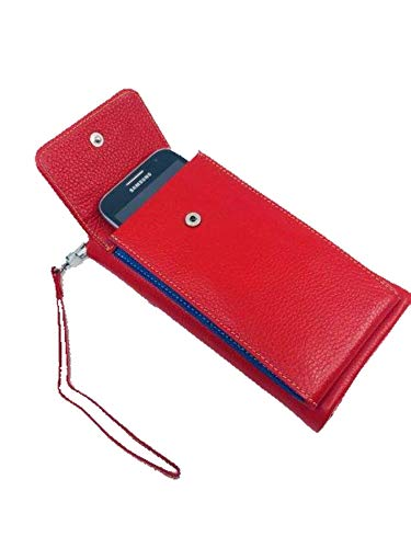 Indigo Phone Wallet Red, genuine leather, 24 cards, RFID, with detachable wristlet