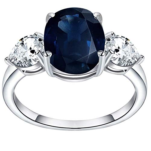 4.45 Ctw Sapphire & White Topaz Engagement Ring By Orchid Jewelry : Anniversary And Promise Ring For Women, Promise Gemstone Rings For Her, Genuine Sterling Silver Fashion Rings Size 8