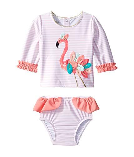 Mud Pie Baby Girl's Flamingo Rashguard Set (Infant/Toddler) Pink 2T (Toddler)
