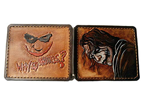 Men's 3D Genuine Leather Wallet, Money clip, Hand-Carved, Hand-Painted, Leather Carving, Custom wallet, Personalized wallet, Joker, Batman, The Dark Knight, Heath ()