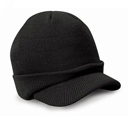 Singleluci New Peaked Army Beanie Hat Warm Wooly Winter Mens Ladies Cadet Ski Cap (Cadet Beanies)