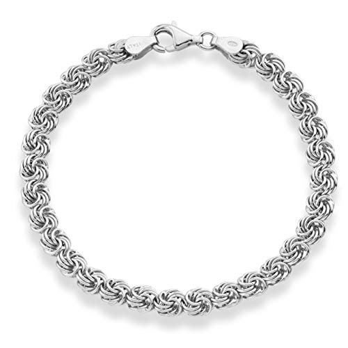 - MiaBella 925 Sterling Silver Italian Love Knot Rosette Link Chain Bracelet Jewelry for Women 6.5