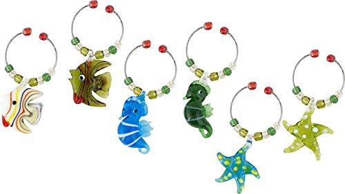 (LSArts Wine Charms, Sea Life, Set of 6)