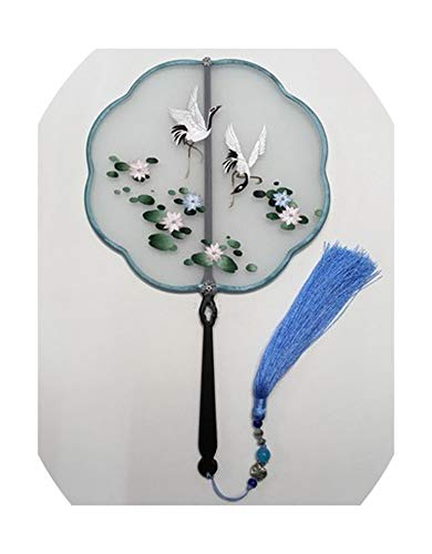 (Charming-Rugosa Hand Double- Side Suzhou Embroidery Craft Fan Decorative Mulberry Silk Fan Women Ebony Handle Chinese Hand Fans,Style15,Diameter)