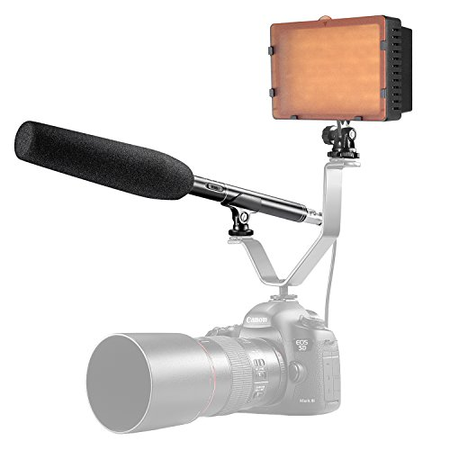 Neewer 160 LED CN-160 Video Light with 14.17 inches Uni-Directional Microphone and Outdoor Windscreen Muff for Canon, Nikon, Pentax, Panasonic, SONY, Samsung and Olympus Digital SLR Cameras by Neewer
