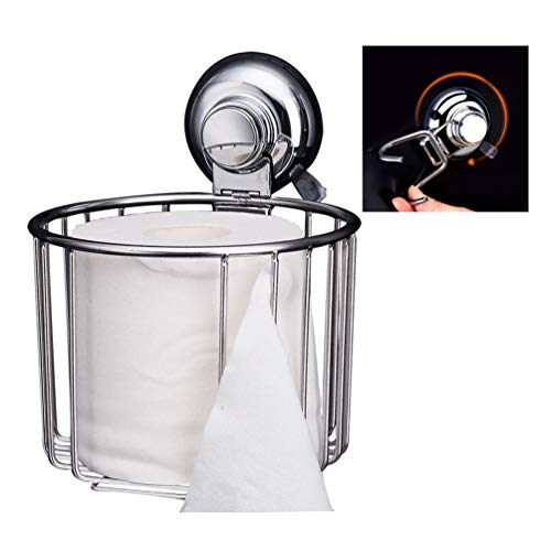 Professional Portable Stainless Steel Suction Cup Paper Towel Holder for Kitchen Bathroom Bedroom Office Living Room