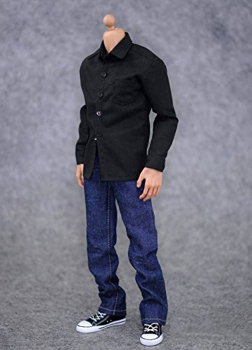 ESHINEY 1:6 Male Clothes Action Figure Accessoies Black Shirt & Jeans Suit Soldier Clothes Set For 12 inch Male Figure Doll (1 6 Action Figures)