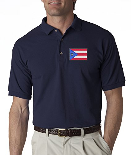 Puerto Rico Rican Flag Country Pride Logo Embroidered Polo Shirt S-3XL - Navy - L