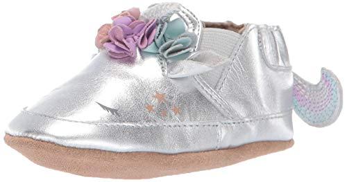 - Robeez Girls' Slip On Soft Soles Crib Shoe, Uma Unicorn Metallic Silver, 18-24 Months M US Infant