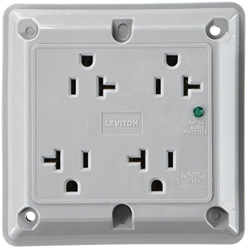 Leviton 5490-GY 20-Amp 125-Volt 4-In-1 Receptacle, Gray