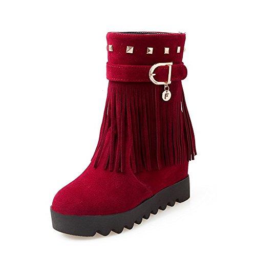 Amoonyfashion Donna Smerigliato Tacco Medio Chiuso Stivali Con Tacco Medio Sfrangiato Rosso