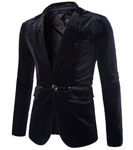 Rlouw Mens Stylish Peaked Lapel Blazer Jacket Black