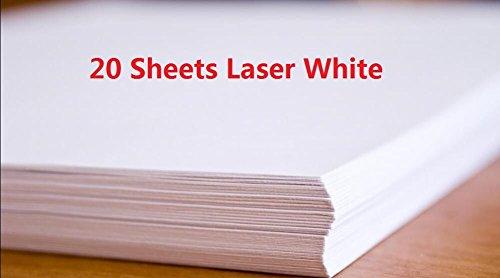 - 20 Sheets DIY Laser Water Slide Decal Paper Sheets White Image Transfer Paper