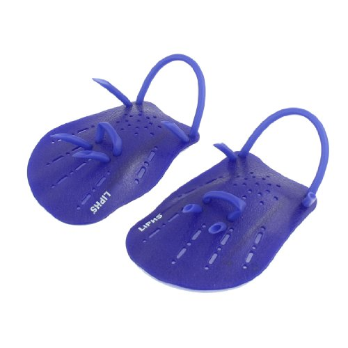 Water Rubber POWER Aqua Training Swimming Hand Paddles Web Gloves Blue
