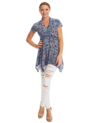 MBJ WT1312 Womens Print Short Sleeve Empire Line Side Panel Tunic XL (Print Tunic Blouse)