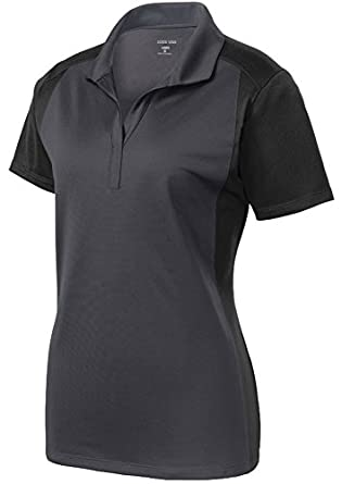 Ladies moisture wicking micropique polo shirts in sizes xs for Moisture wicking button down shirts