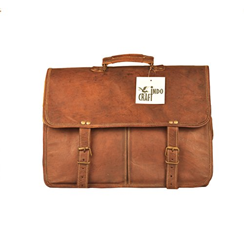 "Genuine Leather Vintage 16"" Laptop Messenger Top Handle T..."