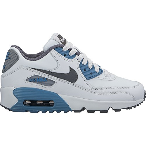 (Nike Boys' Air Max 90 Leather (GS) Shoe, Pure Platinum/Cool Grey-Noise Aqua, 6Y)