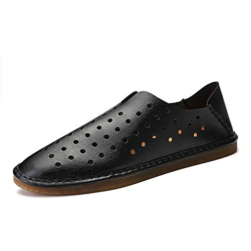 Nordstrom Simpson Jessica - HAHUTG& Large Size Summer Men's Shoes Hollow Out Mens Loafers Leather Breathable Flat Shoes Men Calzado Chaussure Homme Cuir Black 10.5