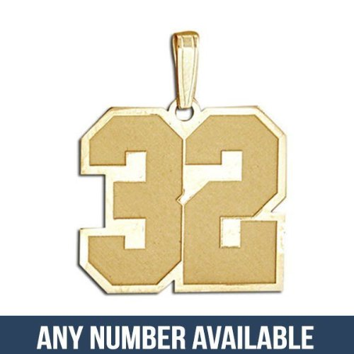 14k Yellow Gold- 3/4 Inch X 3/4 Inch- Sports Number Charm or Pendant with 2 Digits - 3/4 Inch X 3/4 Inch - 14k Yellow Gold, Number 54 (Charm Gold 14k Pendant Sports)