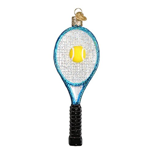 Old World Christmas Glass Blown Ornament with S-Hook and Gift Box, Sports Collection (Tennis Racquet [Blue]) (3d Tennis Racket)