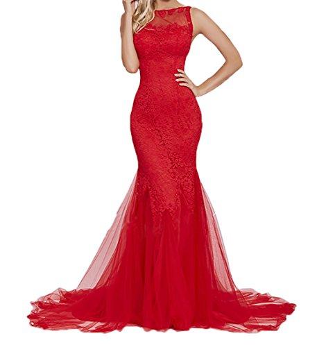 Partykleider Damen Promkleider Meerjungfrau Spitze Charmant Still Abschlussballkleider Rot Lang Abendkleider wIdxdPTO