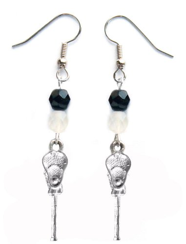''Lacrosse Stick & Ball'' Lacrosse Earrings (Team Colors Black & White) by Edge Sports
