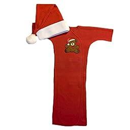 Jacqui\'s Unisex Baby Red Teddy Bear Christmas Gown, Preemie