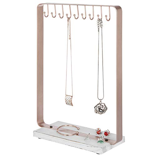 MyGift Rose Gold-Tone Metal 9-Hook Necklace Display Stand with Torched Wood Base Antique Gold Tone Base