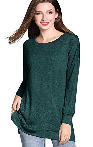 GSVIBK Womens Round Neck Pullover Tunics Casual Long Sleeve Side Split Tunic Sweatshirt Loose Tunic T Shirt Tops Dark Green 209 M