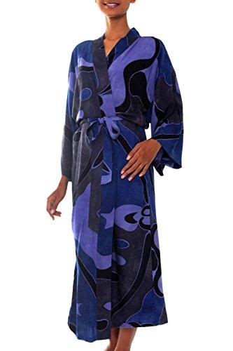 NOVICA Blue Purple Women's Rayon Batik Robe, Through The Seas' (One Size Fits Most)