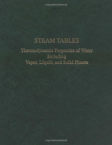 Steam Tables : Thermodynamic Properties of Water Including Vapor, Liquid, and Solid Phases/With Charts (metric measurements)