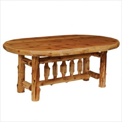 Fireside Lodge Furniture Hand Crafted Cedar Oval Log Dining Table With Standard Finish, 6', Traditional - Lodge Bedroom Furniture