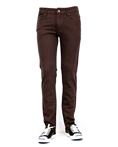 URBAN ICON MEN'S SKINNY JEANS WITH COMFORT STRETCH, 36X30, BROWN