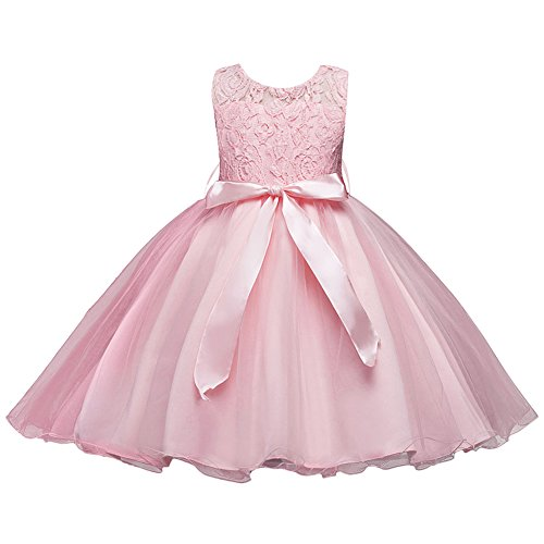 Girls Kids Short Lace Tulle Tutu Dress Princess Party Wedding Bridesmaid Formal Gown Blush 8-9 Years