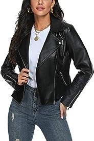 Fahsyee Women's Leather Jackets, Faux Motorcycle Plus Size Moto Biker Coat Short Lightweight Vegan Pleathe