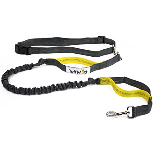 Tuff Mutt - Hands Free Dog Leash Running, Walking, Hiking, Durable Dual-Handle Bungee Leash, Reflective Stitching, 4-Foot Long, Adjustable Waist Belt (Fits up to 42 Waist) (Gray/Yellow)