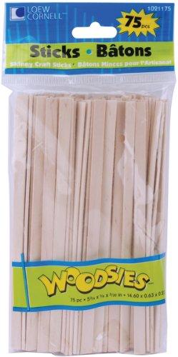 (Loew-Cornell Woodsies Skinny Craft Sticks, 5.75-Inch, Natural, 75-Pack)