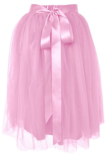 Dancina Women's Knee Length Tutu A Line Layered Tulle Skirt Plus (Size 12-22) Pink